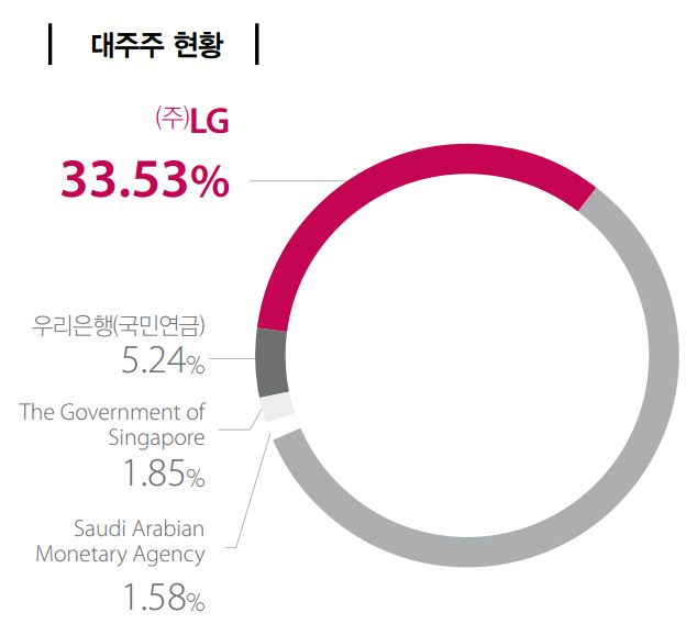 LG화학 대주주 현황: (주)LG 33.53%, 우리은행(국민연금) 5.24%, The Government of Singapore 1.85%, Saudi Arabian Monetary Agency 1.58%