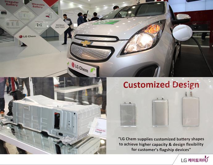 인터 배터리 2014 LG화학의 충전 중인 전기 자동차