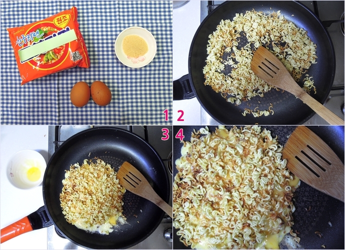 1.라며노미야끼를 만들기 위한 재료인 라면, 달걀 2알, 설탕 밥 수저로 2스푼이다./ 2. 잘게 부순 라면을 기름을 살짝 두른 프라이팬에 노릇노릇하게 볶고 있다. / 3.갈색 빛이 도는 라면 부스러기 위로 이전에 풀어둔 달걀 물을 붓고 난 후다. 이 과정에서 달걀이 눌어붙지 않기 위해 소량의 기름을 조금 더 넣으면 좋다./4. 약한 불에 면과 달걀이 어느 정도 익은 후 라면 수프 반 개와 설탕 2스푼을 골고루 뿌린 모습이다.