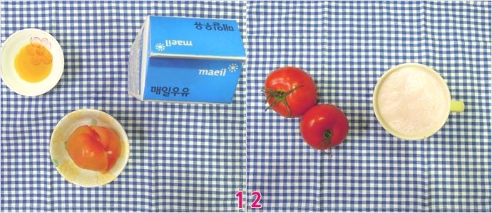1.파란색 체크 보자기 위에 왼쪽부터 꿀, 토마토, 우유가 놓여있다./ 2.믹서에 토마토의 입자가 고와질 때까지 갈면 상큼하면서 고소한 토마토 우유 완성!