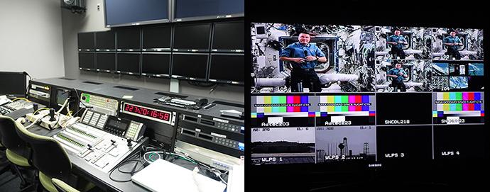 NASA TV 스튜디오 내부의 모습이다. 현재는 방송중이 아니라 모니터들이 모두 꺼져있는 모습이다.