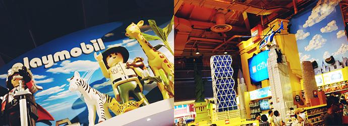 왼쪽 사진에는 커다란 레고 사람 모형과 동물 모형이 전시되어 있다. 오른쪽 사진 속에는 여러 뉴욕의 건물들이 뉴욕으로 재현되었다.