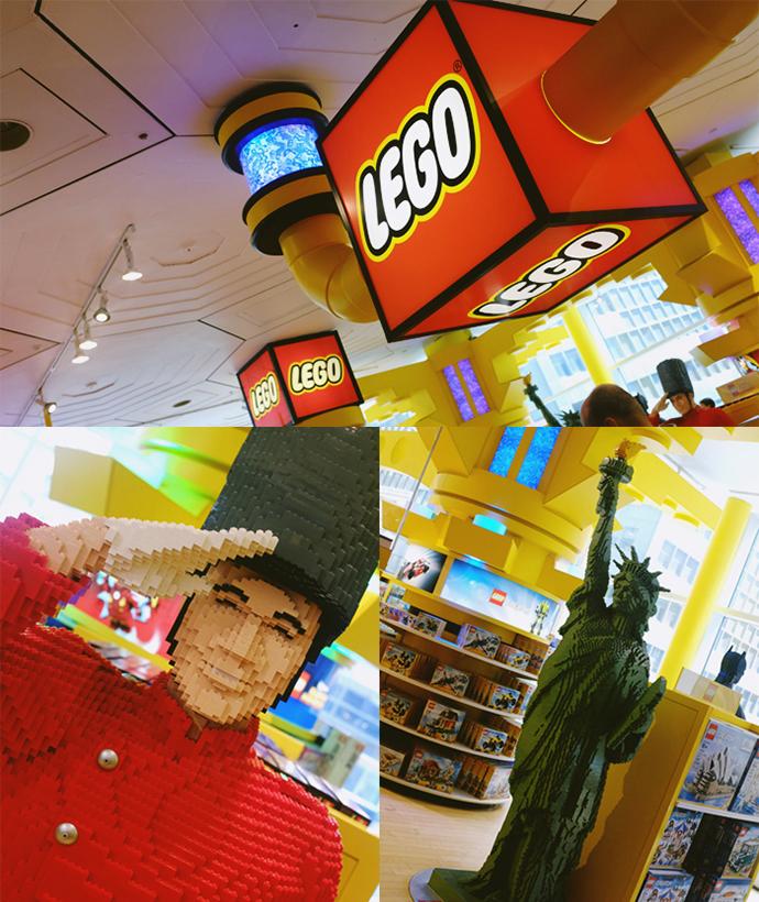 사진1에는 레고 코너에 레고 간판이 걸려 있다. 아래의 사진 두 장에는 파오슈왈츠 병정과 자유의 여신상이 사람 사이즈로 레고로 만들어져 있는 모습이다.