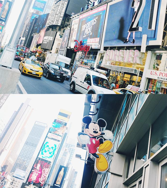 위 사진에는 타임스퀘어 광장에 디즈니 간판이 보이는 모습, 아래 사진에는 미키 마우스 간판이 클로즈업되어 촬영된 사진이다.