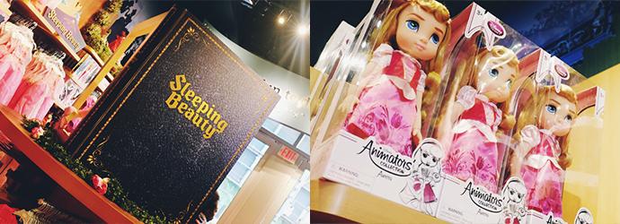위 사진에는 'Sleeping Beauty'라고 크게 쓰여있는 모형 책이 간판 역할을 하는 모습이 보인다. 아래 사진은 잠자는 숲 속의 공주 베이비돌 사진.