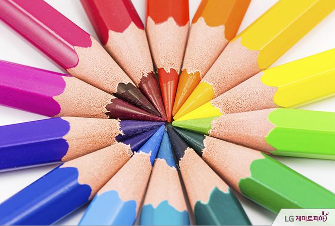 눈에 잘 띄는 색색의 연필들