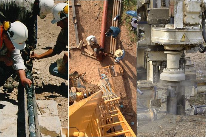 석유를 찾는 3단계인 지질조사, 물리탐사, 시추탐사의 모습