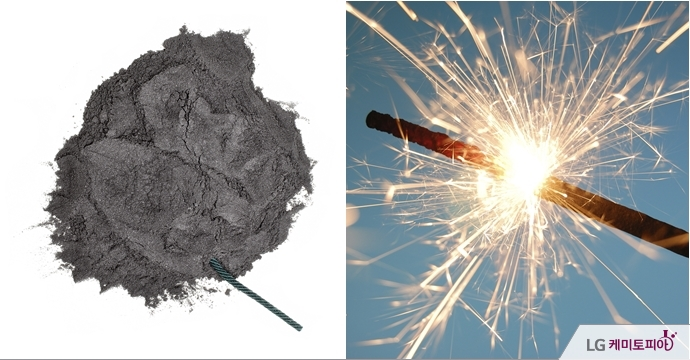 (좌)흑색화약 (우)열과 빛을 내는 연소반응