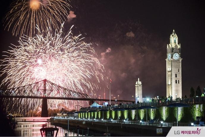 캐나다 몬트리올 국제 불꽃축제의 전경