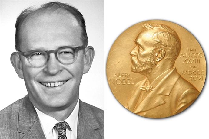 탄소연대측정법을 개발한 윌라드 리비와 노벨상 메달