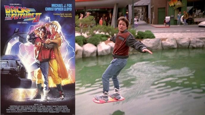 영화<백투더퓨처>2의 포스터와 '호버보드'를 타고 있는 주인공
