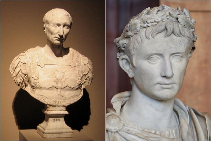 (좌)율리우스 카이사르와 (우)아우구스투스의 조각상