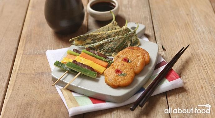 야채꼬치, 달걀 옷을 입힌 깻잎과 단호박 반죽을 구운 삼색전