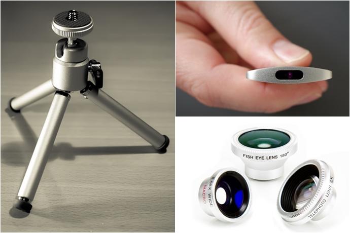 (좌측부터 시계 방향으로) 미니 삼각대, 무선 리모콘, 스마트폰용 렌즈 키트