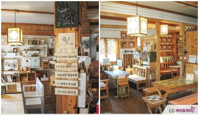 카페와 함께 운영하는 미즈우드의 내부공간