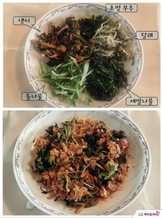 냉이, 초벌부추, 달래, 돌나물, 세발나물이 들어간 비빔밥