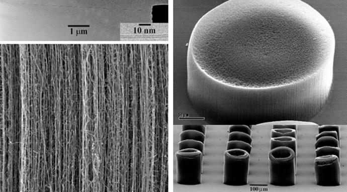 전자현미경으로 촬영한 나노 튜브