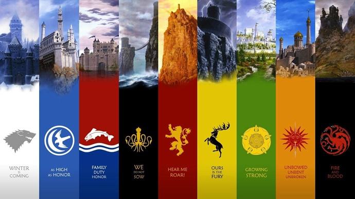 왕좌의 게임에 등장하는 일곱 개 가문 깃발