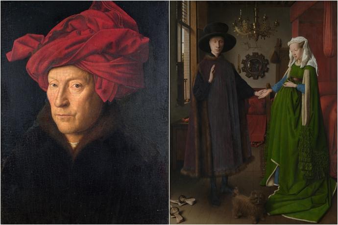 (좌) 얀 반 에이크, (우) 작품 '아르놀피니의 결혼'