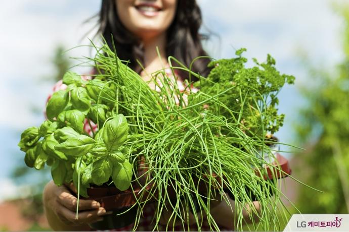 수확한 채소들을 들고 웃는 여자