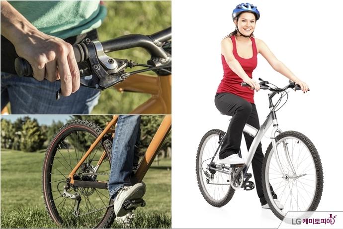 (왼쪽 상단) 브레이크 레버 위에 둘째, 셋째 손가락이 올려두고 있다. (왼쪽 하단) 페달을 밝은 가장 넓은 부분으로 밟고 있다. (오른쪽) 한 여성이 자전거로 주행하려 하고 있다.