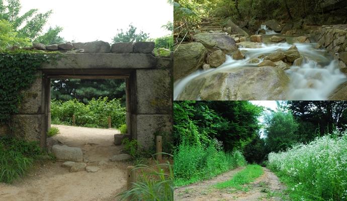 북한산 둘레길의 계곡, 산길, 도성 등 풍경