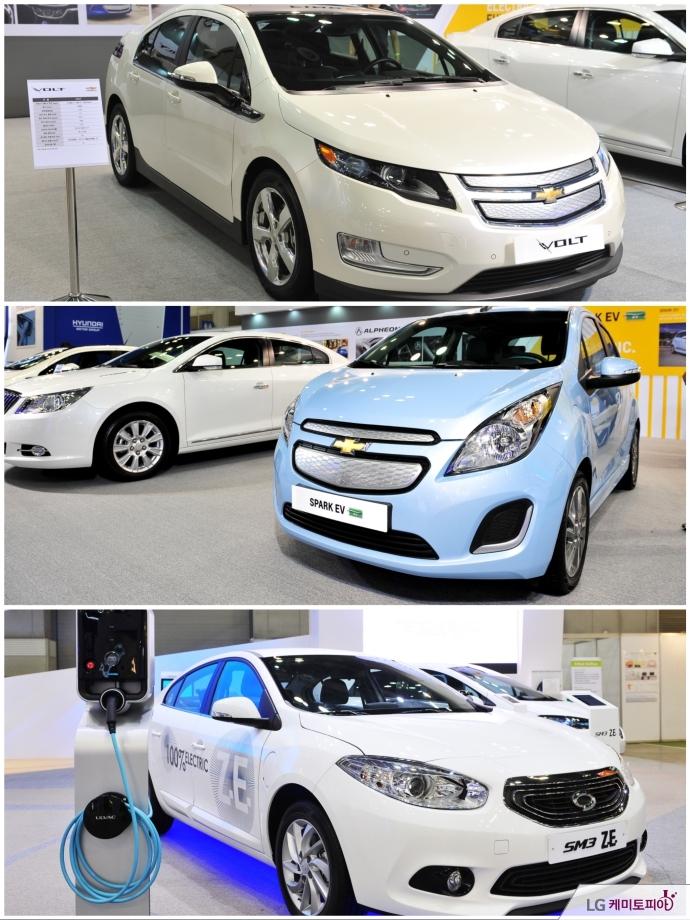 LG화학의 배터리가 탑재된 GM의 전기차 쉐보레 볼트, 스파크 EV, 르노의 sm3 Z.E의 모습들