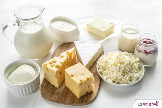 다양한 종류의 치즈 및 유제품