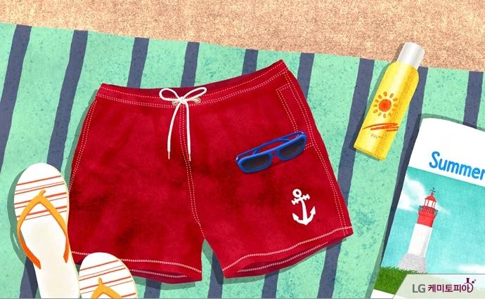 해변 돗자리 위의 남자 수영복