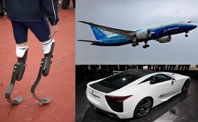 탄소섬유 적용 사례, 왼쪽부터 인공 다리, 비행기, 수퍼카