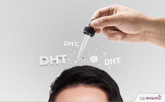 머리카락에 DHT 호르몬이 더해지는 그래픽 이미지