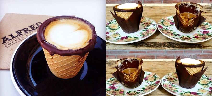 초콜릿과 콘으로 된 커피잔, 알프레드 콘