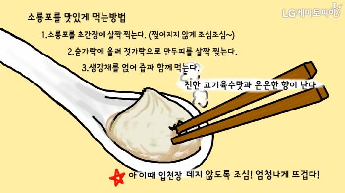 수저 위 소룡포 그림_소룡포를 맛있게 먹는 방법: 1. 소룡포를 초간장에 살짝 찍는다. (찢어지지 않게 조심조심~), 2. 숟가락에 올려 젓가락으로 만두피를 살짝 찢는다. 3. 생각채를 얹어 즙과 함께 먹는다. 진한 고기육수 맛과 은은한 향이 난다. 아! 이때 입천장 데지 않도록 조심! 엄청나게 뜨겁다!