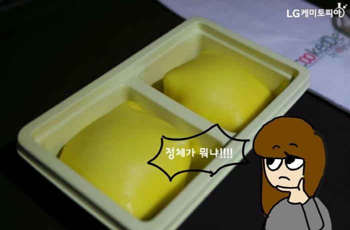 그릇 안에 노란 크림같은 것이 담겨 있는 사진_ 정체가 뭐냐!