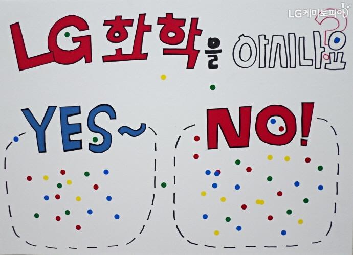 LG화학을 아시나요-라는 피켓에 yes와 no 답변에 고르게 스티커가 붙여져 있다.