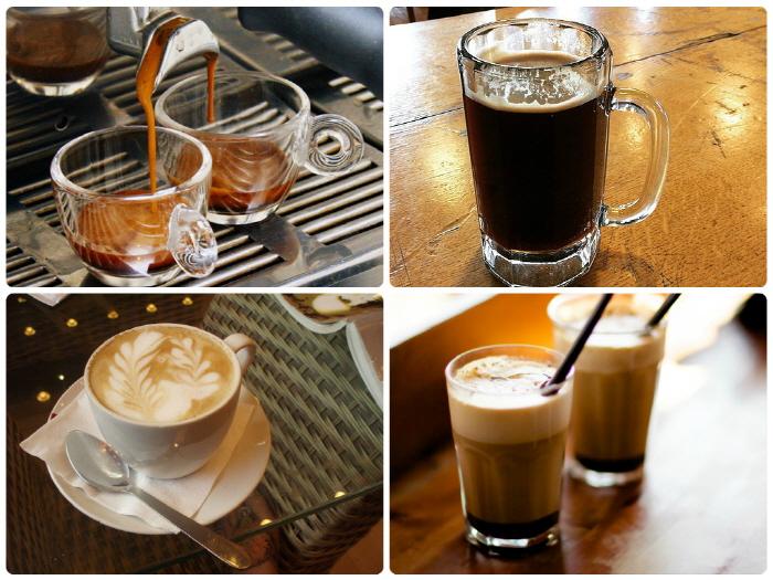 다양한 커피의 종류, 왼쪽부터 에스프레소, 아메리카노, 카페라떼, 카프치노가 각각 잔에 담겨있다.