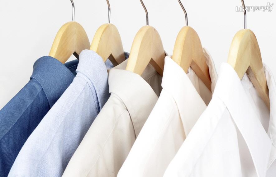 옷걸이에 나란히 걸려있는 색색의 와이셔츠들