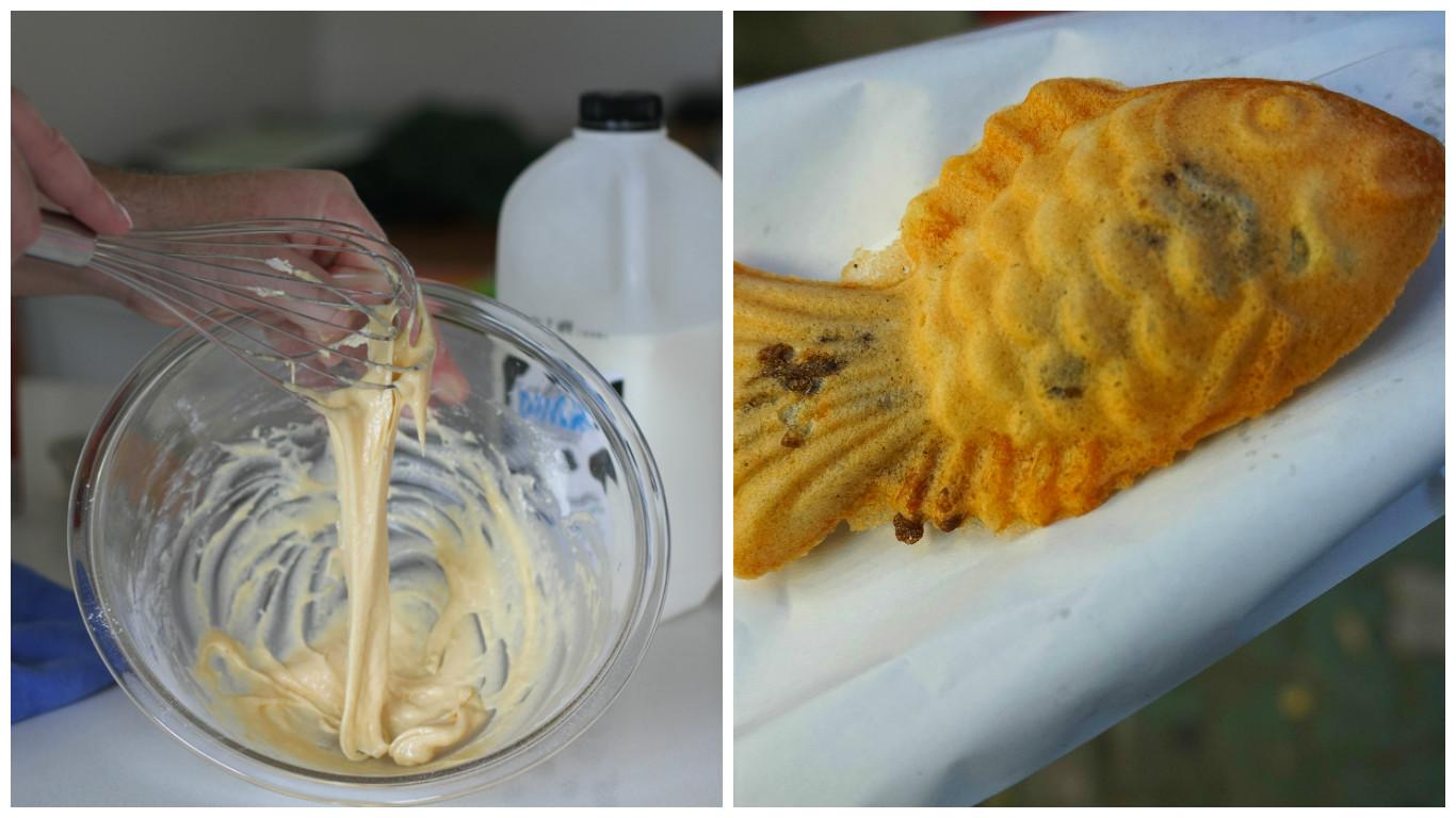 왼쪽은 밀가루를 반죽하는 손, 오른쪽은 붕어빵 사진