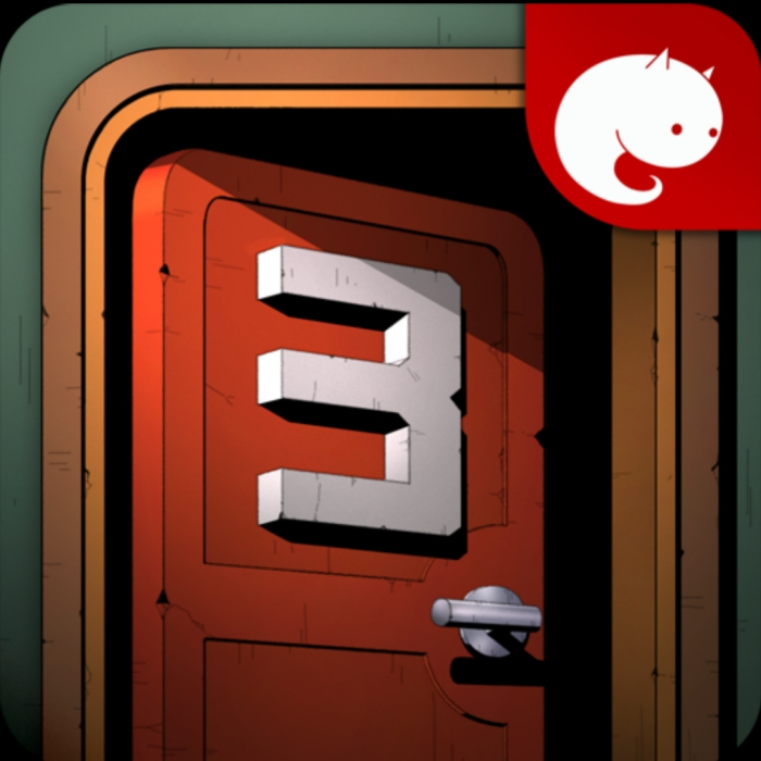 방탈출게임3 이미지: '3'이라고 쓰인 빨간 문이 반쯤 열려 있다.