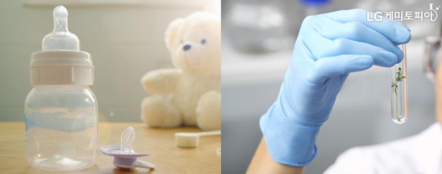 왼쪽은 아기들의 젖병과 인공 젖꼭지, 오른쪽은 라텍스 의료 장갑을 낀 연구원의 손