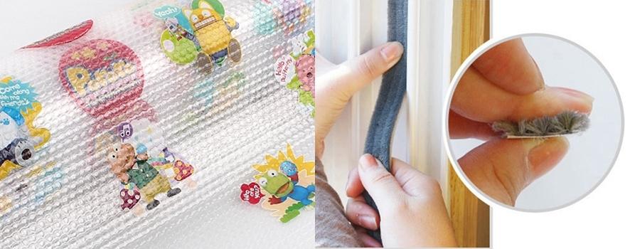 왼쪽은 뽀로로가 프린트된 에어캡, 오른쪽은 창문 틈을 막는 문풍지 사진