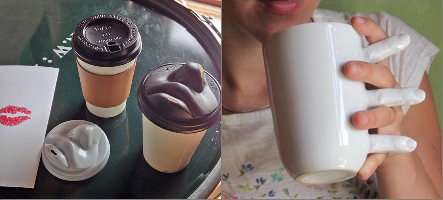 왼쪽: 입술 모양 커피컵 뚜껑, 오른쪽, 손가락 모양 손잡이가 달린 머그컵