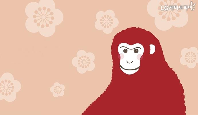 웃고 있는 붉은 원숭이 일러스트