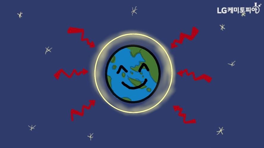 오존층으로 외부로부터 보호받으며 웃는 지구의 모습 일러스트