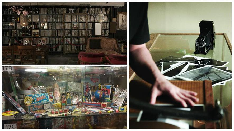 LP가 무수히 꽂혀있는 LP 바의 책장, 옛 장난감들을 모아놓은 진열대, 필름카메라로 인화한 사진