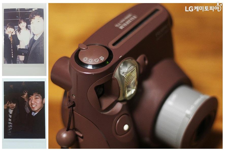 (왼쪽 위) 빛이 많이 들어서 뿌연 즉석사진, (왼쪽 아래) 어두운 즉석사진, (오른쪽) 즉석사진 카메라