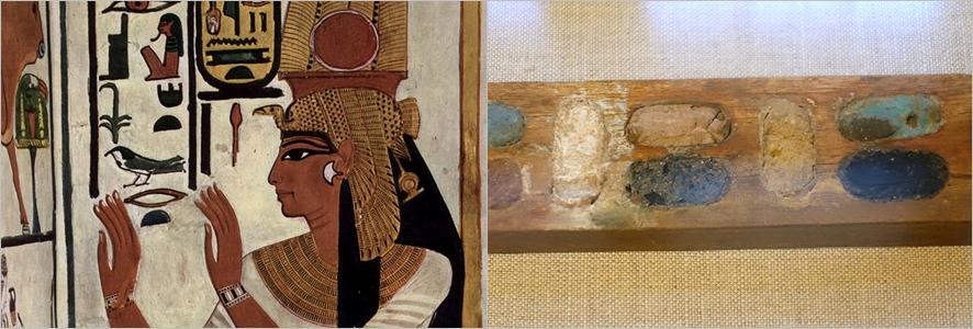 (왼쪽부터)도료가 쓰인 이집트의 벽화, 고대 이집트의 안료 팔레트 ⓒwikimedia.org