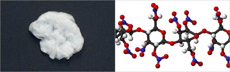 (왼쪽부터)니트로셀룰로오스와 그 화학구조 ⓒwikimedia.org