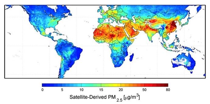 초미세먼지 농도가 가장 짙은 중국 (이미지 출처: NASA)