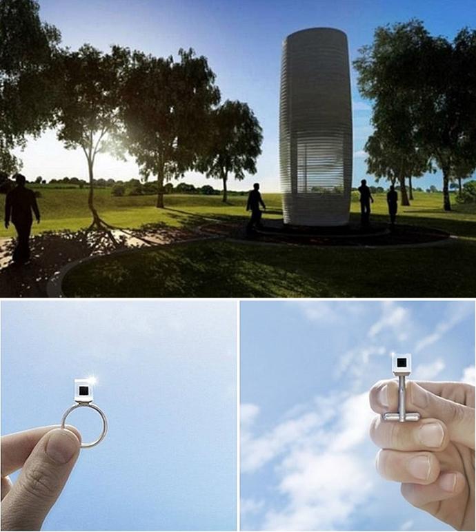미세먼지를 정화하는 스모그 프리 타워(위)와 미세먼지를 압축해서 만든 반지 스모그 프리 큐브 (이미지 출처: Studio Roosegaarde)